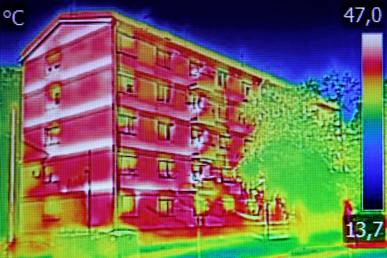 Thermal image on a building